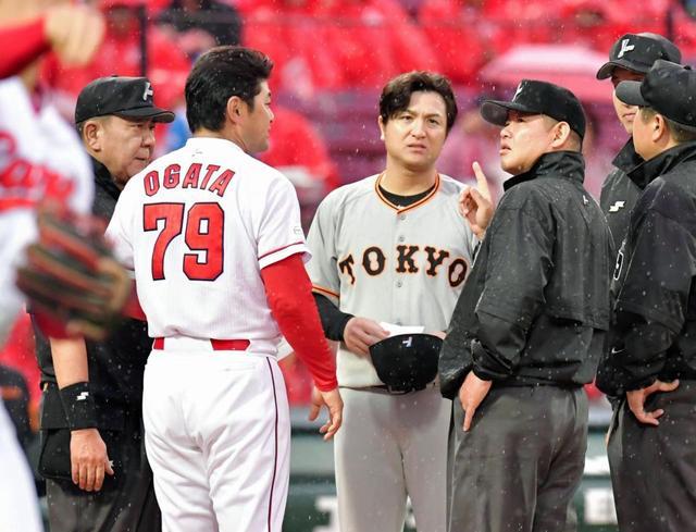 広島対巨人 降雨で試合中止 発表された4番は広島が鈴木、巨人は阿部 ...
